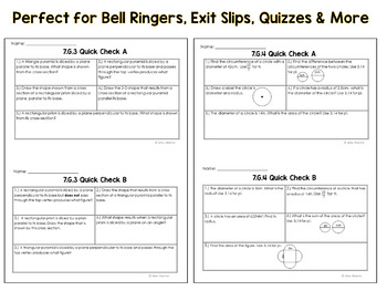 7th Grade Common Core Geometry Quick Check Sheets & Standard Posters