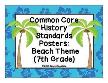 7th Grade Common Core History Standards Posters: Beach Theme