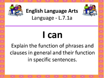 "7th Grade Common Core ""I Can"" Statements for English Language Arts"