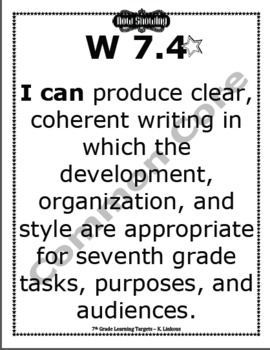 7th Grade Common Core Learning Target Signs