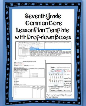 7th Grade Common Core Lesson Plan Template with Drop-down Boxes
