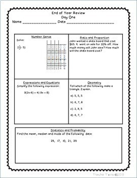 7th Grade Common Core Math End of Year Review