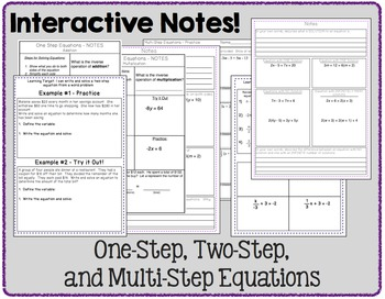 Equations Bundle (One-, Two-, and Multi-Step) - Notes, Practice, and Activities
