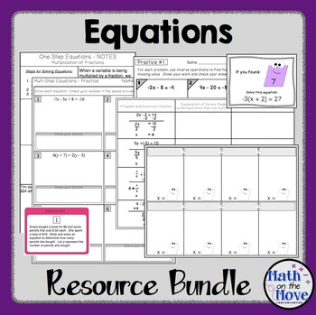 Equations Bundle (One-, Two-, and Multi-Step) - Notes, Pra