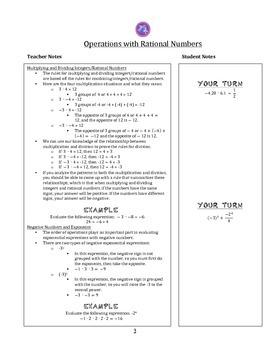 7th Grade Common Core Math Notes