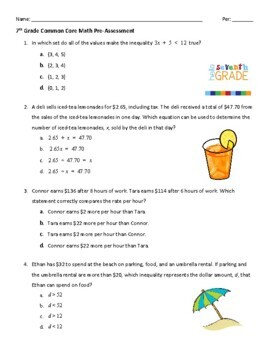 7th Grade Common Core Math Pre-Assessment