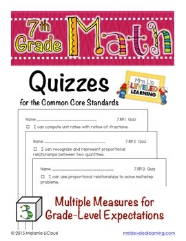 7th Grade Common Core Math Quizzes - All Standards - Distance Learning