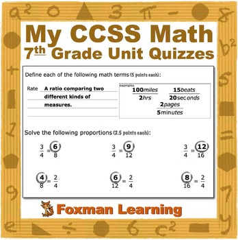 7th Grade Math Quizzes--Terms and Skills--CCSS Common Core Middle School