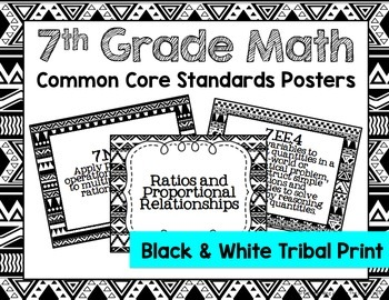 7th Grade Common Core Math Standards Posters- Black & White Tribal Pattern