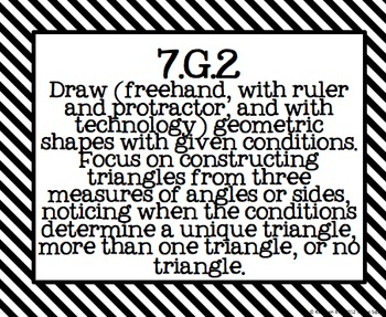 7th Grade Common Core Math Standards Posters- Black and White Pattern