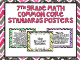 7th Grade Common Core Math Standards Posters- Glitter Chevron Pattern