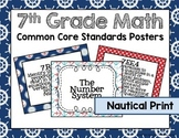 7th Grade Common Core Math Standards Posters- Nautical