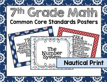 7th Grade Common Core Math Standards Posters- Nautical