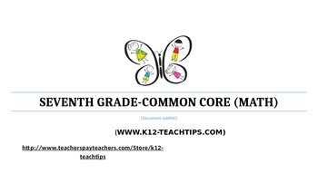 7th Grade Common Core Math Student Chart