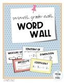 7th Grade Common Core Math Word Wall