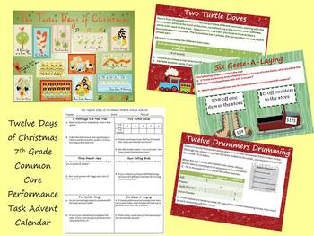 7th Grade Common Core Performance Task Card Christmas Advent
