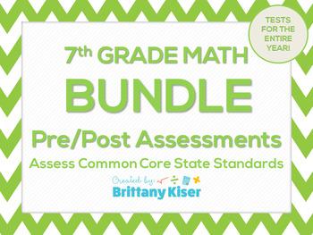 7th Grade Math Common Core Pre & Post Test Assessment Bundle