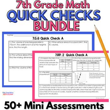 7th Grade Common Core Quick Check Assessment Bundle & Stan