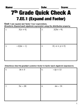7th Grade Math Common Core Quick Check Mini Assessments (7.EE.1 - 7.EE.4)