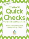7th Grade Math Common Core Quick Check Mini Assessments (7.G.1 - 7.G.6)