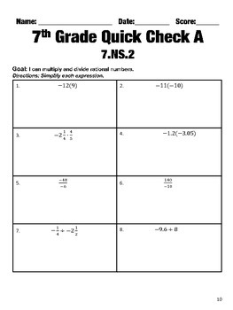 7th Grade Math Common Core Quick Check Mini Assessments (7.NS.1 - 7.NS.3)