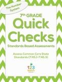 7th Grade Math Common Core Quick Check Mini Assessments (7.NS.1 - 7.NS.3)