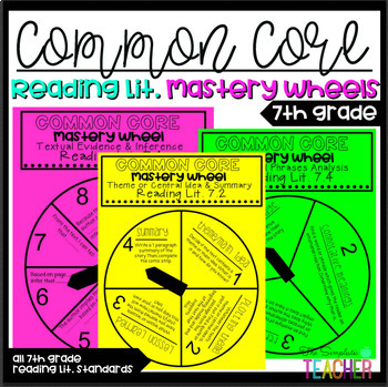 7th Grade Common Core Reading Literature Mastery Wheels and Answer Sheets