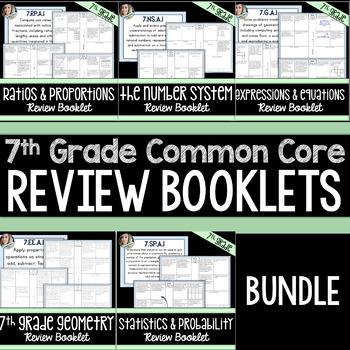 7th Grade Common Core Review Booklet Bundle