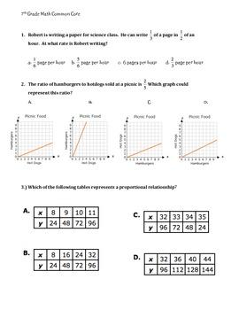 7th Grade Common Core Review or Test Prep