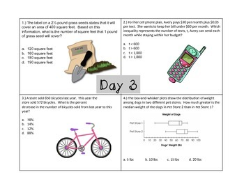 7th Grade Common Core Spiraled Review ~ 20 Day Countdown!!