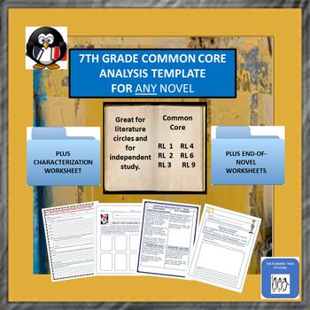 7th Grade Common Core Standards Analysis Template for Any Novel