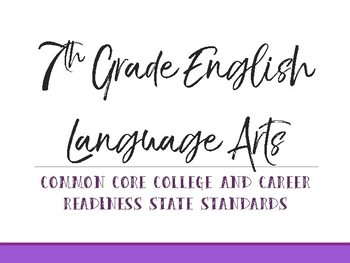 7th Grade Common Core Standards Cards