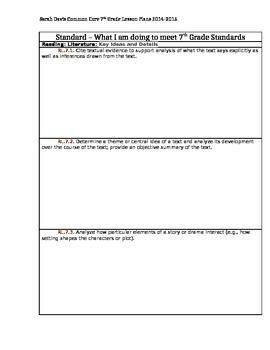 7th Grade Common Core Standards Planning and Tracking
