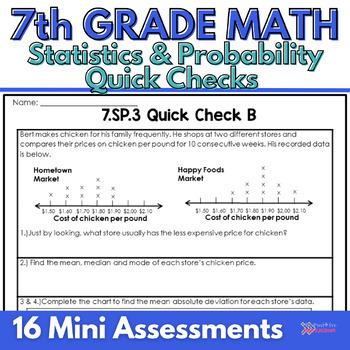 7th Grade Common Core Statistics and Probability Quick Check Sheets