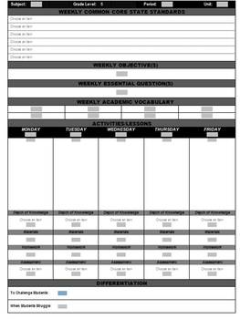 7th Grade Common Core Weekly Lesson Plan Template - ELA  (Microsoft Word)