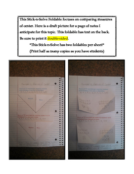 7th Grade Comparing Measures of Center Lesson: FOLDABLE & Homework