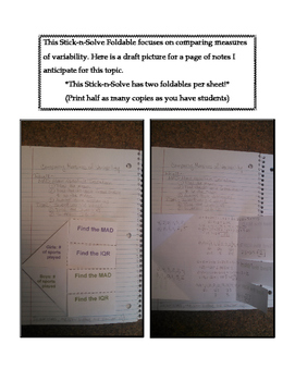 7th Grade Comparing Measures of Variability Lesson: FOLDABLE & Homework