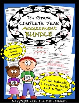 7th Grade Complete Year Assessment Bundle - Worksheets & Tests