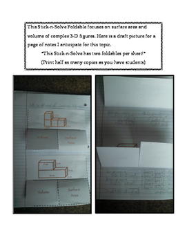 7th Grade Complex 3-D Figures Lesson: FOLDABLE & Homework