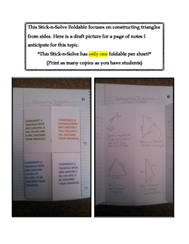 7th Grade Constructing Triangles from Sides Lesson: FOLDABLE & Homework