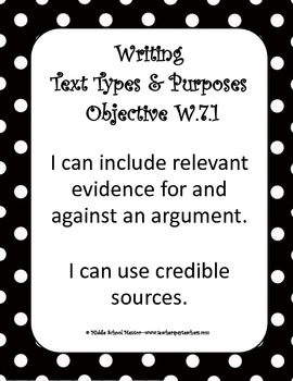 7th Grade Core Writing Checklists, I Can Statements, Graphic Organizers, & More