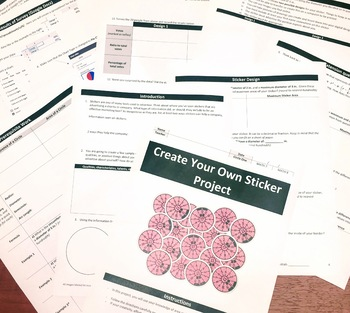 Create a Sticker Project (Circumference/Area-Circles)-7th/8th Grade (STEAM)