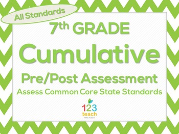 7th Grade Math Cumulative Pre Post Test Assessment