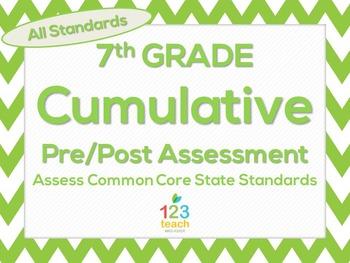 7th Grade Math Cumulative Pre/Post Test Assessment