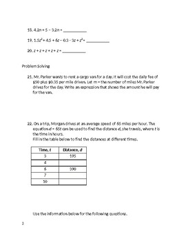 7th Grade Cumulative Review Packet