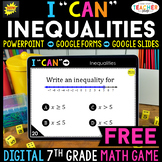 7th Grade DIGITAL I CAN Math Game | Inequalities | FREE