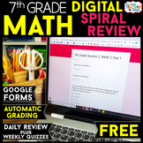 7th Grade DIGITAL Math Spiral Review & Weekly Quizzes | Google Forms | FREE