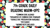 7th Grade Daily Reading Warm-Ups (Common Core Aligned)