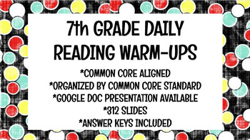 7th Grade Daily Reading Warm-Ups (Common Core Aligned)