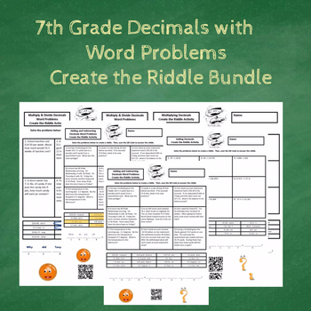 7th Grade Decimals with Word Problems Create the Riddle Activity Bundle